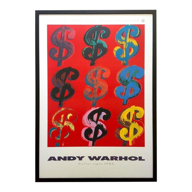 "Andy Warhol Estate Rare Vintage 1989 1st Edition Lithograph Print Large Framed Pop Art Poster "" Dollar Signs "" 1982 For Sale"