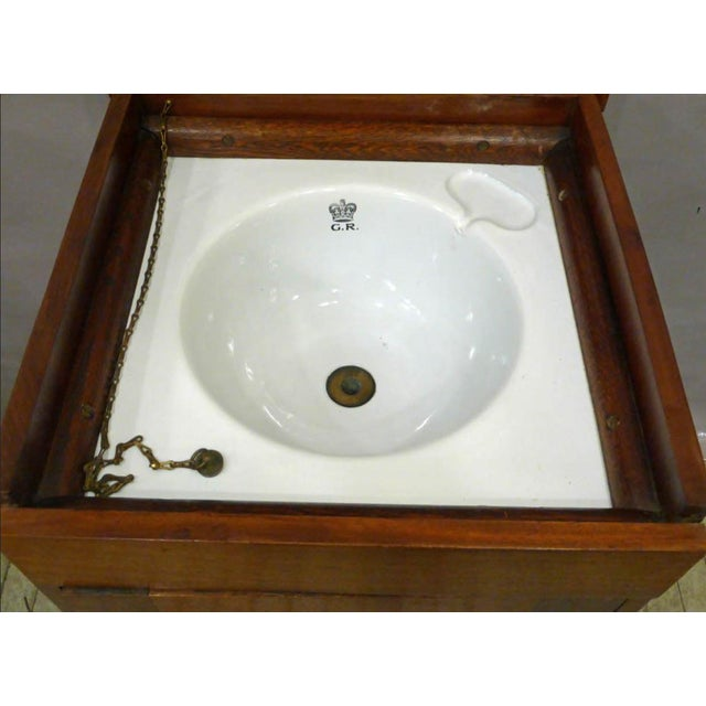 Brass English George V Mahogany Cabinet With Enameled Nautical Sink For Sale - Image 7 of 7
