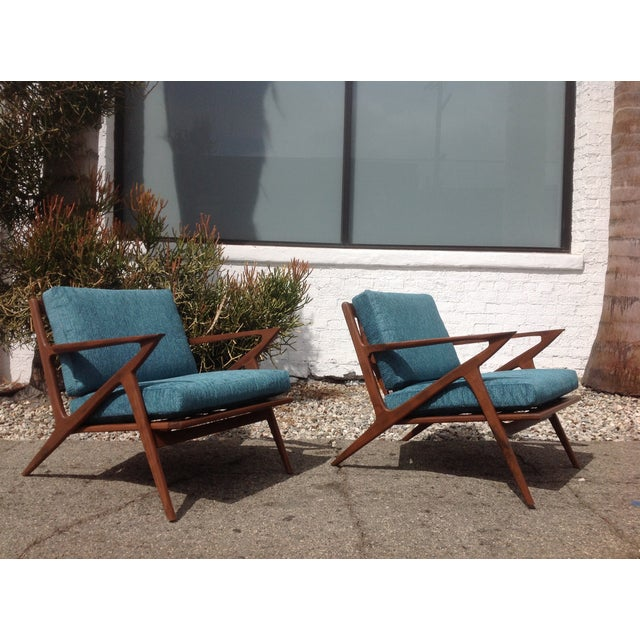 Mid Century Modern Style Z Lounge Chairs - Pair - Image 5 of 5