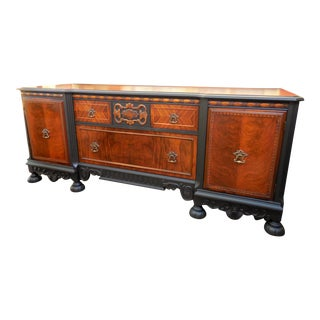 Early 20th Century Heirloom Black and Flame Walnut Sideboard For Sale