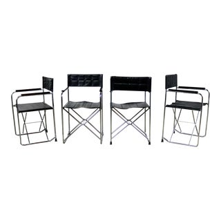 Folding Campaign Style Director's Chairs Black Vinyl & Chrome Style of Gae Aulenti Set 4 For Sale