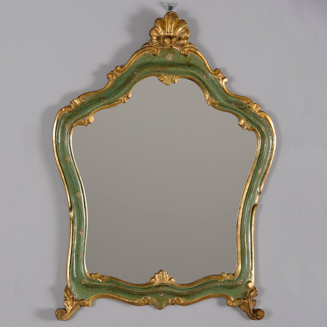 Small French Green and Gilded Crown Top Mirror For Sale - Image 4 of 10