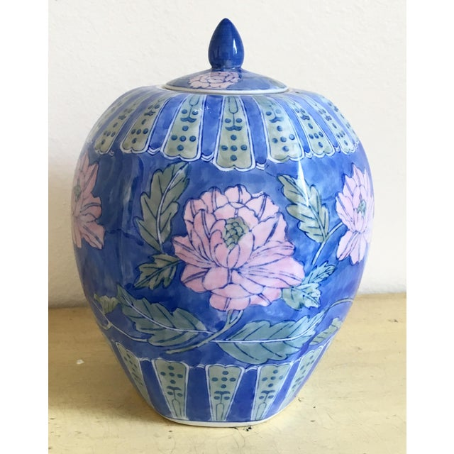 Vintage Large Chinoiserie Blue Ginger Jar & Lid - Image 2 of 10