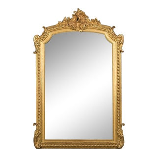 19th Century French Louis Philippe Gold Leafed Framed Mirror For Sale