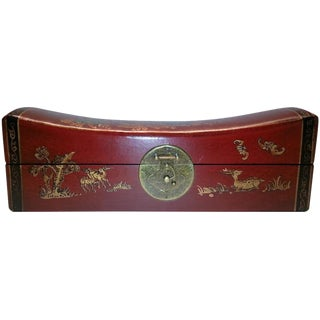 Chinese Brass & Red Leather Box For Sale