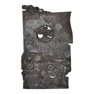 A Bar A Ranch, Wyoming - Bronze Plaque c.1988 For Sale