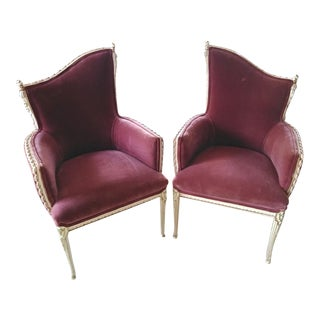 Vintage French Provincial Wine Velvet Fireside Accent Chairs- a Pair For Sale
