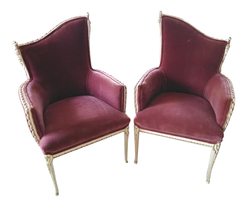 Vintage French Provincial Wine Velvet Fireside Accent Chairs  A Pair