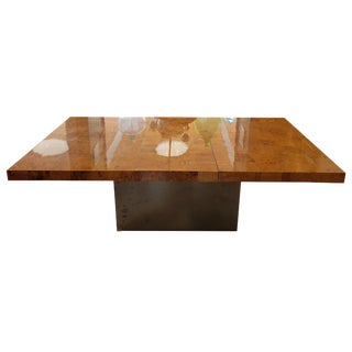 Midcentury Burlwood Dining Table With Stainless Steel Base For Sale