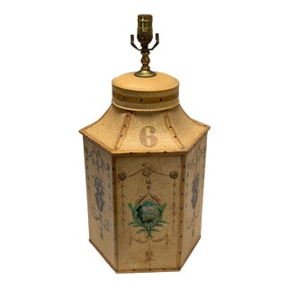 """1960s Vintage Chinese English Tea Caddy Lamp """"6"""" For Sale"""