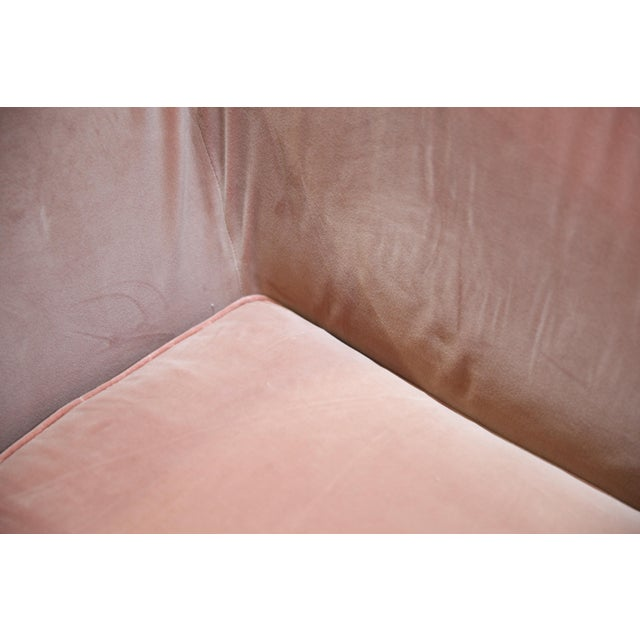 Christian Liaigre Christian Liaigre Modern Sofa in Pink Velvet with 4 Pillows For Sale - Image 4 of 13