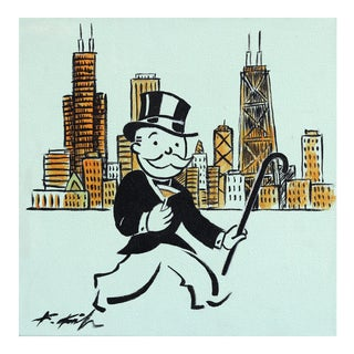 """""""Uncle Money Bags on the Town"""" Original Artwork by Kathleen Keifer For Sale"""