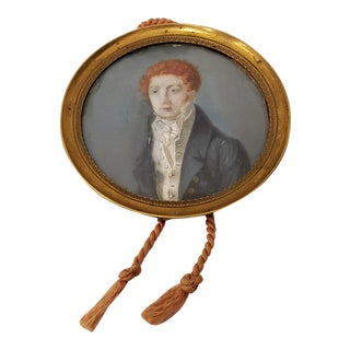 19th Century Miniature Portrait of a Young Man With Red Hair For Sale