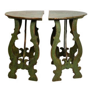 Pair 19th C Carved and Painted Italian Demi Lune Tables