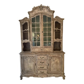 20th Century Traditional Tan China Cabinet For Sale