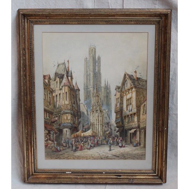 French town scene by Henri Schafer (1833-1916), well-listed French painter, framed in a period appropriate frame.
