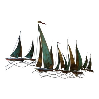 "Mid-Century Modern Metal Wall Art By Curtis Jere ""SailBoats"""