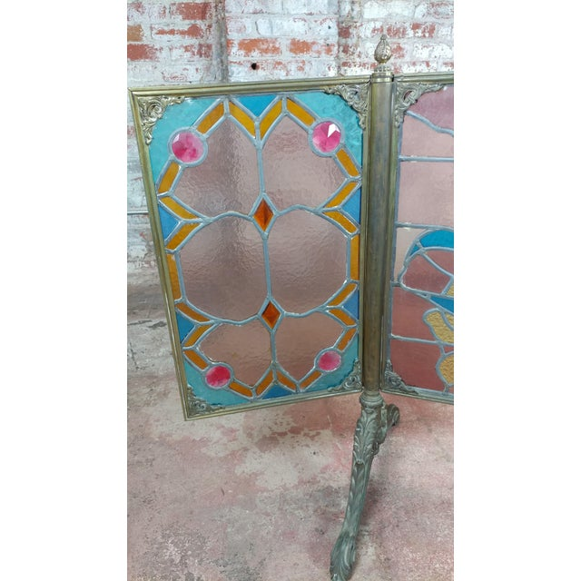 Gorgeous Art Nouveau Bronze & Stained Glass Fireplace screen For Sale - Image 5 of 12
