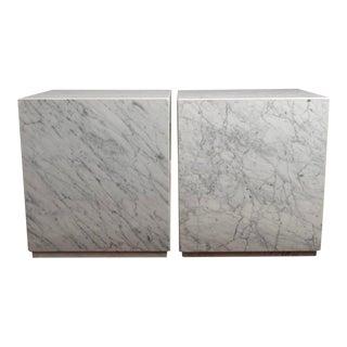 1960s Carrara Marble Cube Tables - a Pair For Sale
