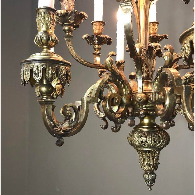 Gold Antique French Louis XIV Bronze Chandelier For Sale - Image 8 of 13