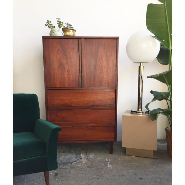 Mid Century Walnut Wood Tallboy Dresser - Image 10 of 11