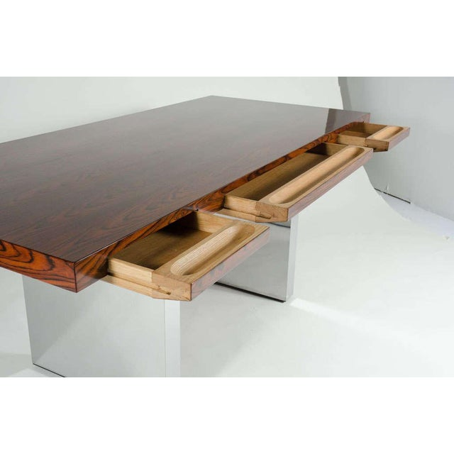 1970s Roger Sprunger for Dunbar Rosewood & Chrome Executive Desk For Sale - Image 5 of 10
