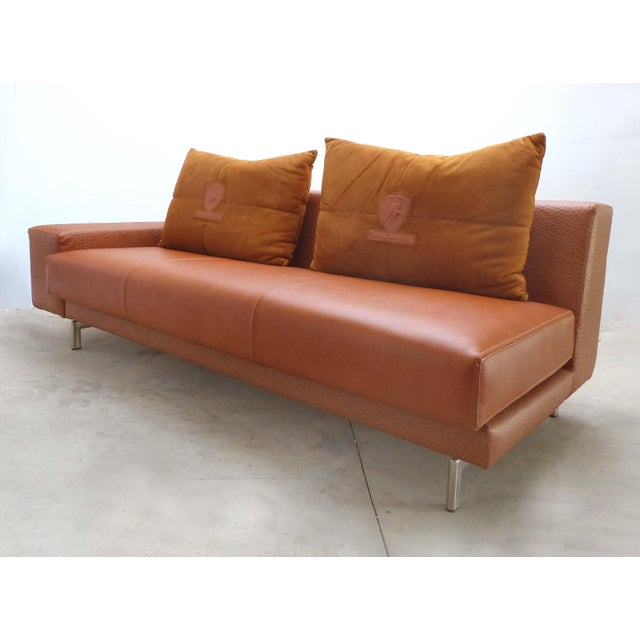Casa Tonino Lamborghini Pilot Collection Sofa in Leather, Ostrich & Suede For Sale - Image 4 of 13