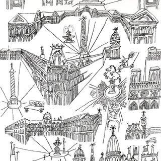 Sample - Schumacher Views of Paris Wallpaper in Black & White Preview