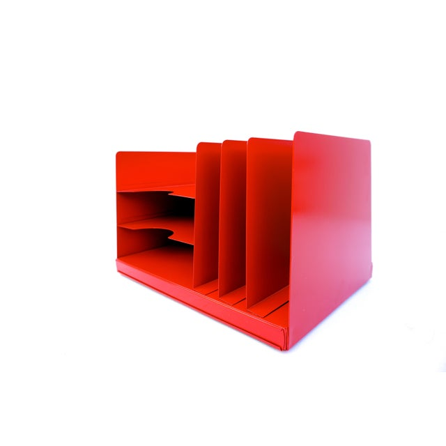 Industrial Mid-Century Industrial RED Steelcase File Rack For Sale - Image 3 of 9