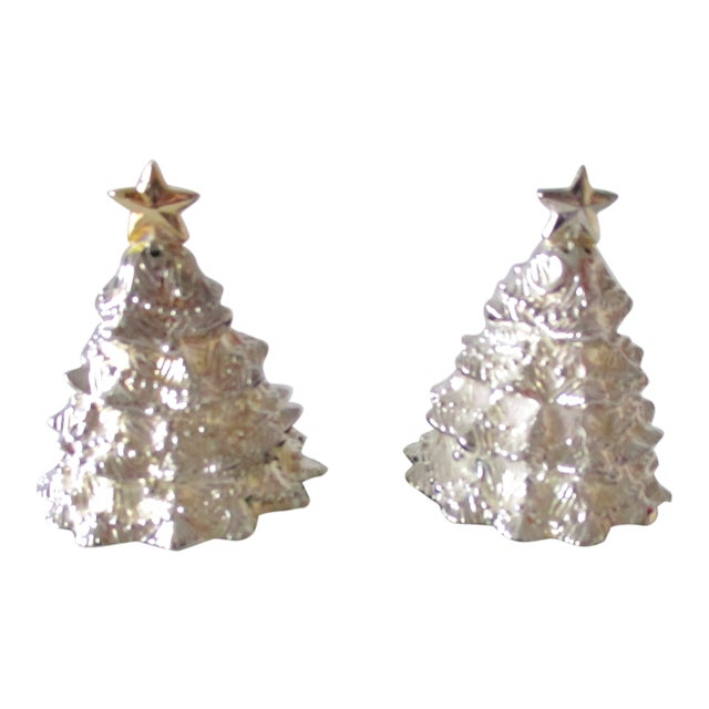 Vintage Christmas Trees Silver Plated Salt and Pepper Shakers Set For Sale