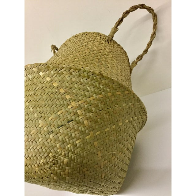 Natural Straw Collapsible Basket For Sale - Image 9 of 12