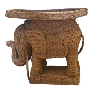 Vintage Rattan Elephant Side Table