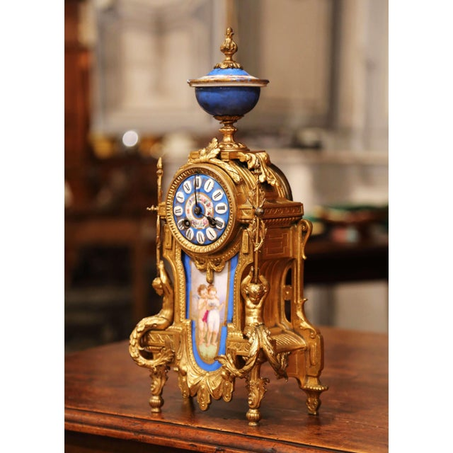 Place this antique 19th century French clock on a mantel or a desk. Crafted in France circa 1880, the elegant clock sits...