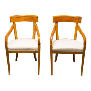 1930s Biedermeier Style Birch Dining Chairs - a Pair For Sale