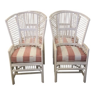 Vintage High Back Lacquered Rattan White Coral Cushions Dining Chairs - Set of 4 For Sale