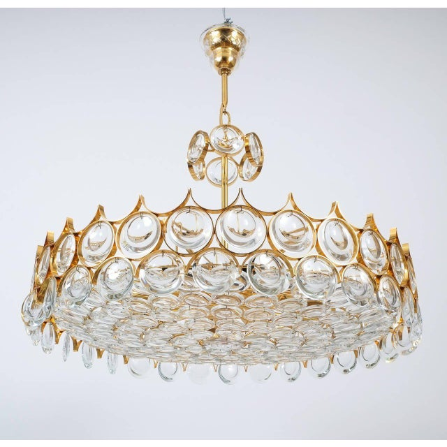Palwa Palwa Gold Brass and Glass Large Chandelier Ceiling Lamp, 1960 For Sale - Image 4 of 10