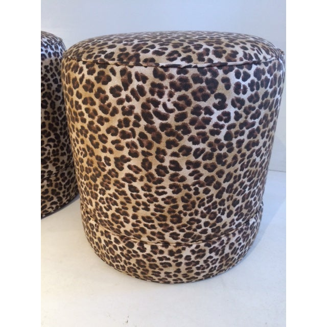 Todd Hase Namesake Leopard Print Ruth Drum Ottomans- A Pair For Sale In West Palm - Image 6 of 13