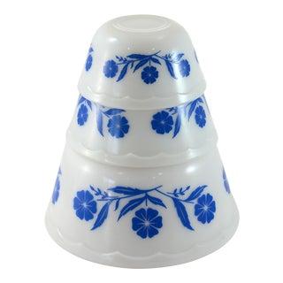 1960s Blue & White Glass Bowls - Set of 3