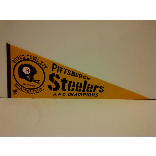 A vintage NFL Pittsburgh Steelers pennant flag. AFC champions. Super Bowl XIV. Pasadena, california. January 20, 1980....