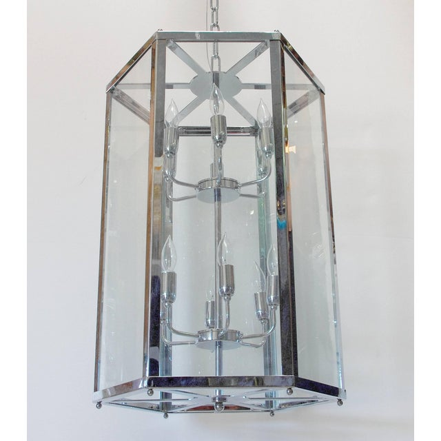 Italian Italian Chrome Lantern For Sale - Image 3 of 8