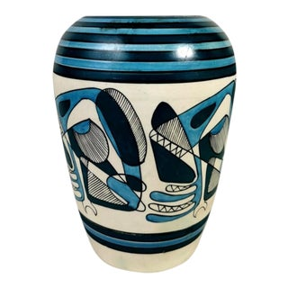 Porcelain Stoneware Vase With Cubist Style Decoration Italy 1950 For Sale