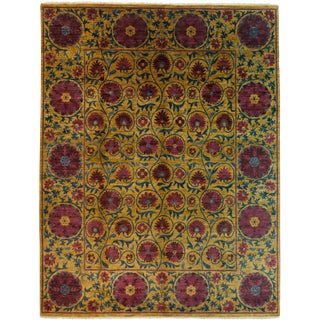 "Persian Suzani Hand Knotted Area Rug - 8'3"" X 10'8"""