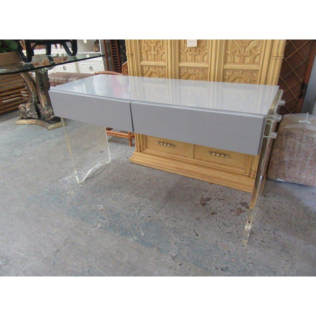 Lucite & Mica Vanity with two drawers. A great storage piece!