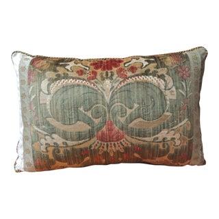 18th Century Green Silk Velvet Damask Pattern Bolster Decorative Pillow For Sale