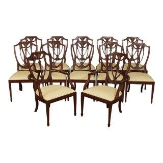 Henkel Harris Hepplewhite Style Set 12 Mahogany Shield Back Dining Chairs For Sale