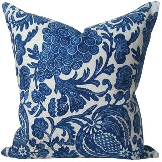 Indigo Batik Floral Decorative Pillow Cover For Sale