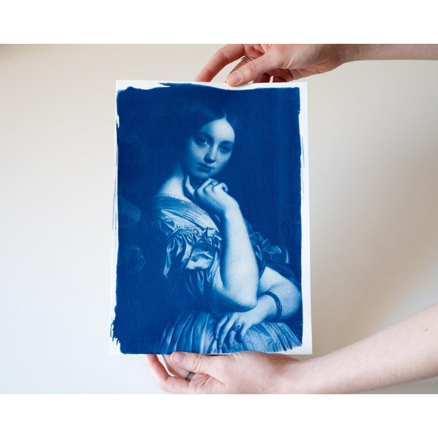 Ingres, Portrait of a Young Girl, Handmade Cyanotype on Watercolor Paper, Limited Serie, A4 For Sale - Image 5 of 7
