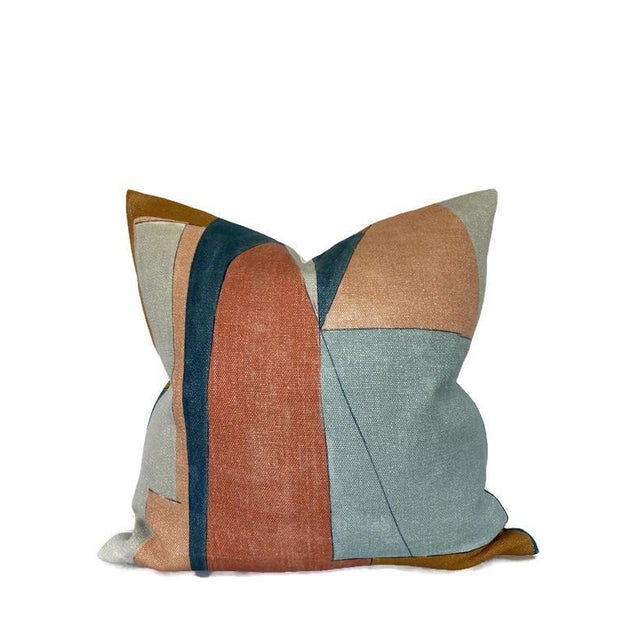 Abstract District Pillow Cover in Apricot For Sale - Image 3 of 3