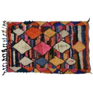 1990s Vintage Berber Tribes of Morocco Boucherouite Shag Accent Rug - 3′3″ × 5′