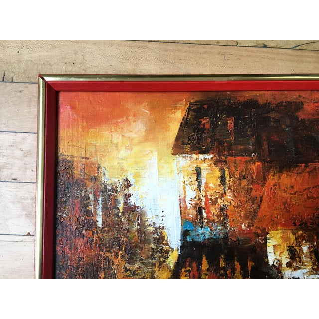 Abstract Mid Century Modern Oil on Canvas Cityscape by Edward Barton For Sale - Image 3 of 9